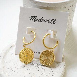 Madewell Archival Charm Hoop Earrings Vintage Gold